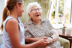 granddaughter visiting grandma